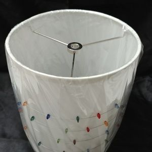 White Drum Shade with Decorative Accents 8.5 in.